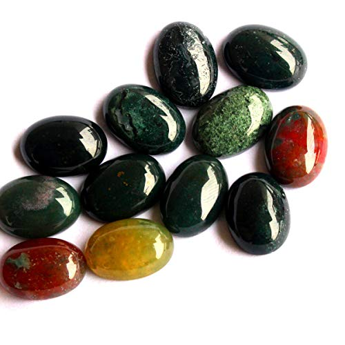 10pcs Stone Natural Real Gemstones Cabochons for DIY Jewelry Making Beads Cabs (Indian Agate, Oval 10x14mm)