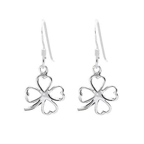 (Silverly Women's .925 Sterling Silver Lucky Four Leaf Clover Dangle Earrings)
