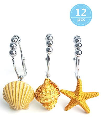 Voiinoiu Ocean Decorative Shower Curtain Hooks,Stainless Steel Shower Curtain Rings with 5 Glide Rollers for Bathroom and Shower Set of 12-Hooks (Seashell, Starfish,Conch) (Yellow)