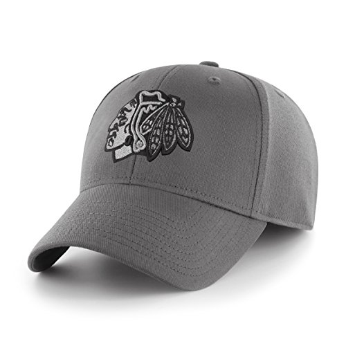 OTS Adult Men's NHL Comer Center Stretch Fit Hat, Charcoal, Large/X-Large