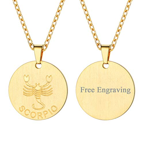 (FaithHeart Engraving Astrology 12 Constellation Horoscope Necklace, 18K Gold Plated Scorpio Zodiac Star Sign Coin Pendant Necklace Birthday Gifts Lucky Charms Layered Necklace (Gold))