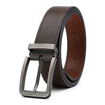 "Gurscour Men's Belts Dress Leather Belt for Men 1.4""(35mm) Width Brown"