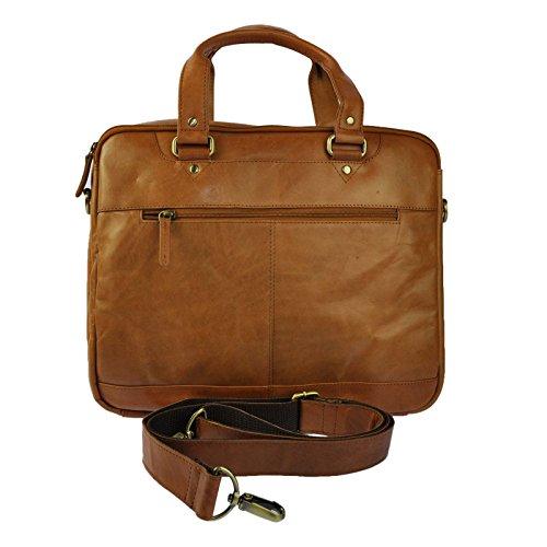 Alwin Club Aktentasche aus Echtem Leder für Laptop Ipad Unterlagen wählbar aus Schwarz, Tan, Vintage Tan , Vintage Schwarz, Vintage Braun (Tan) Tan