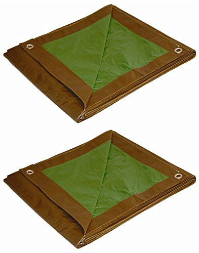 (Foremost Dry Top 10057 5 ft x 7 ft Brown/Green Reversible Full Size 7-mil Poly Tarp - Pack of 2)