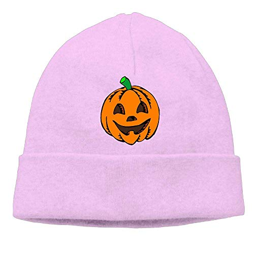 Men's&Women's Pumpkin Clipart Halloween Soft Knit Beanie Caps Pink
