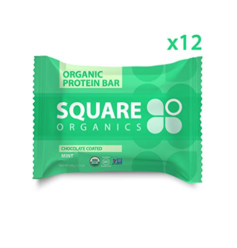 Square Organics Organic Chocolate Coated Protein Bar, Mint (12 Count) 1.7 Oz. , Gluten-Free Soy-Free Dairy-free Vegan High Protein Snack
