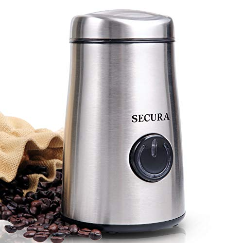 Secura Electric Coffee & Spice Grinder w/ Stainless-Steel Blades