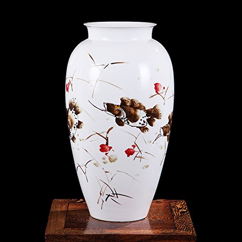 Chinese Porcelain Vase Flower Home Office Decor Hand Made and Hand Painted Porcelain with Floral Pattern (18.5