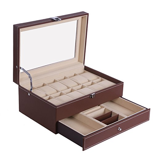 Collection Brown Leather Watch (BEWISHOME Watch Box Organizer 12 Men Jewelry Box Adjustable Tray Case Brown PU Leather Glass Top SSH02Z)