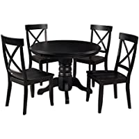 Contemporary Retro Style Wooden Accent 5-Piece Dining Set | 4 Armless X-Back Chairs, Round Shaped Table | Black Finish, Home Decor (Set of 5) - Includes Modhaus Living Pen