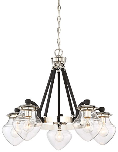 Chain Players Light Pendant (Minka Lavery Chandelier Pendant Lighting 4575-583 The Cape Dining Room Fixture, 5-Light 500 Watts, Polished Nickel)