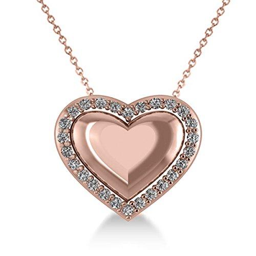 Allurez Puffed Heart Diamond Pendant Necklace 14k Rose Gold (0.26ct)