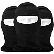 Sunland Lycra Fabrics Ski Face Mask Motorcycle Cycling Bike Bandana Hiking Skateboard Balaclava 3 Pack Black