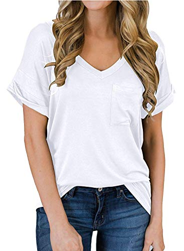 Womens Tops Short Sleeve Casual V-Neck T Shirts Basic Solid Tees Plus Size White XL Boyfriend Womens V-neck T-shirt