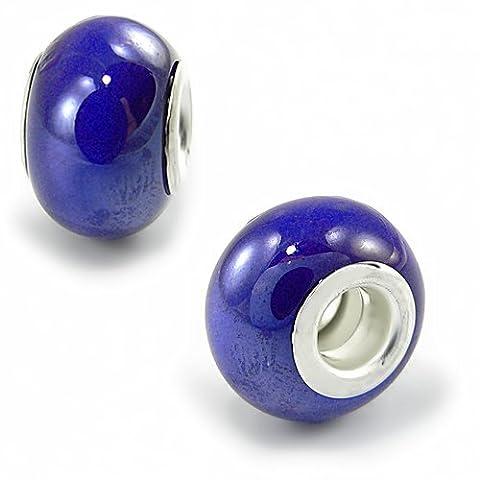 Deep Blue Glass Olympia Bead Charm - Compatible & Fits Major Brand Name Bracelets - Silver Plated - Deep Blue Murano Glass