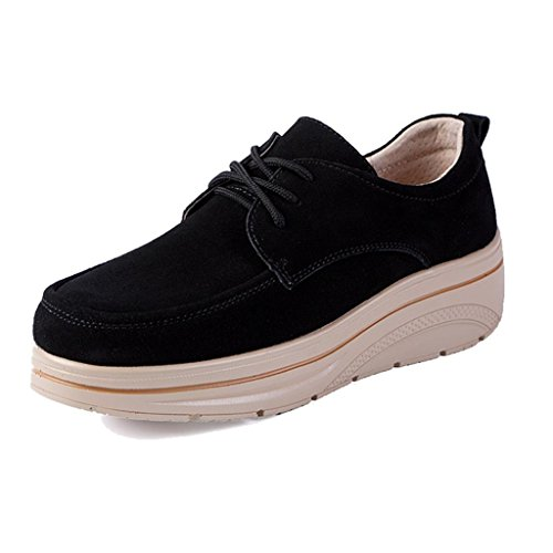 Leather Oxfords Comfort Black Women's Suede up Truland Shoes Wedge Lace Platform pREqwR7