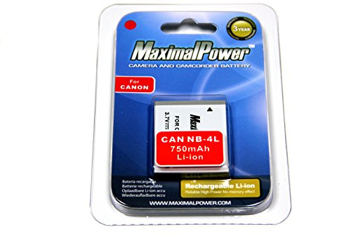 Maximalpower Battery for Cannon NB-4L Powershot SD1400 IS,SD 30 40 200 400 430 600 750 780 940IS 960IS 1000 1100IS, ELPH 100HS 300 HS 310HS TX1, Fully Decoded