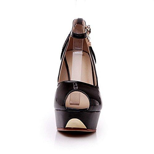 Allhqfashion Women's Buckle Peep Toe Spikes Stilettos PU Solid Sandals Black JIX8f58L