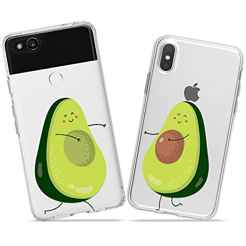 Wonder Wild Avocado Halves Couple Case iPhone Xs Max X Xr 10 8 Plus 7 6s 6 SE 5s 5 TPU Clear Gift Apple Phone Cover Print Protective Double Pack Silicone Love Sweet Cute Relationship Fruits Tropical