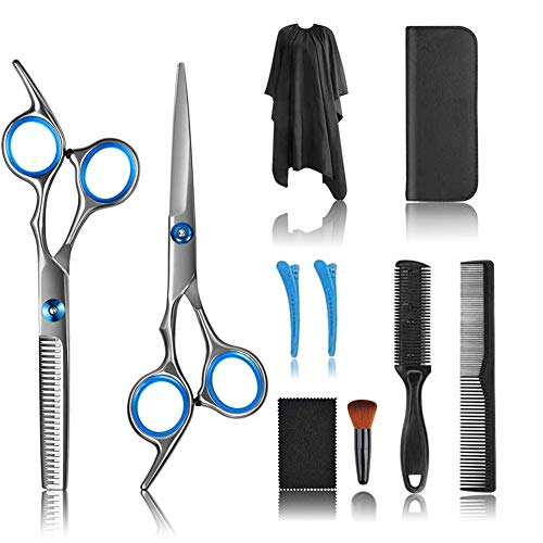 10 PCS Hair Cutting Scissors Shears and Barber Thinning Salon Razor Edge Tools Set Mustache Scissors with Fine Adjustment Screw Japanese Stainless Steel Kit