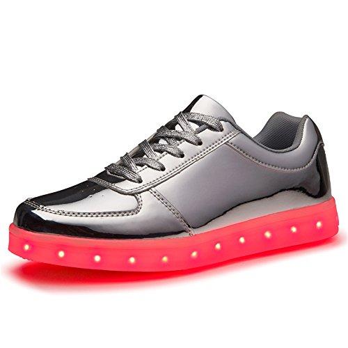 Baha Mut Led Zapatos Carga Usb Light Up Glow Zapatos Hombres Mujeres Fashion Couple Parpadeo Luminous Sports Zapatos Plata 2