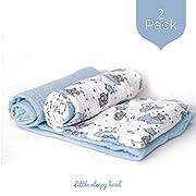 Little Sleepy Head Baby Swaddle Blanket Set - Blue Skies - 2 Pack