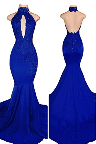 588109060f61 VikDressy Women's Sexy Halter Mermaid Evening Prom Dresses 2018 Long With  Lace Appliques