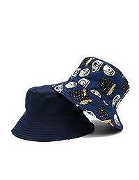 ZSAIMD Cara Doble del Doodle del Casquillo del Sombrero del Cubo Panamá Mujeres de los Hombres de Verano Cubo Pescador Sombrero al Aire Libre Grandes a lo Largo Pot Cap Plegable del Sombrero del Cubo
