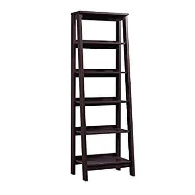 Sauder Trestle 5 Shelf Bookcase, Jamocha Wood finish - Open storage holds books, photos, collectibles, and more. Finished on all sides for versatile placement. Jamocha Wood finish. - living-room-furniture, living-room, bookcases-bookshelves - 41jDBFnK%2BpL. SS400  -