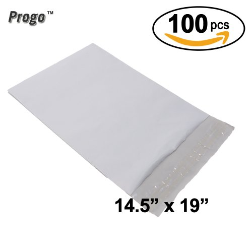 Progo 100 ct 14.5x19 Large Size Self-seal Poly Mailers. Tear-proof, Water-resistant and Postage-saving Lightweight Plastic Shipping Envelopes / Bags 14.5 x 19.