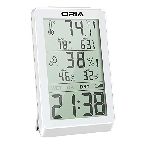 ORIA Digital Hygrometer Thermometer, Indoor Humidity Monitor, Temperature Humidity Meter, Large LCD Screen Gauge Indicator, Min and Max Records, Time Display for Home, Office, Bedroom, Kitchen (White) (Clock Wall Resolution)