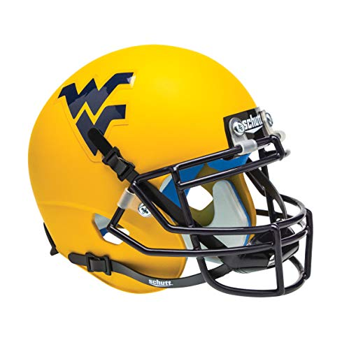 (Schutt NCAA West Virginia Mountaineers Mini Authentic XP Football Helmet, Matte Gold Alt.)