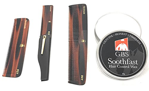 GBS Hair Control Wax with Variety of Premium Anti Static No Snag Tortoise Hair and Beard Combs – Dressing, Pocket and Folding Comb Ultimate All Purpose Set to Shape & Tame your Beard and Hair