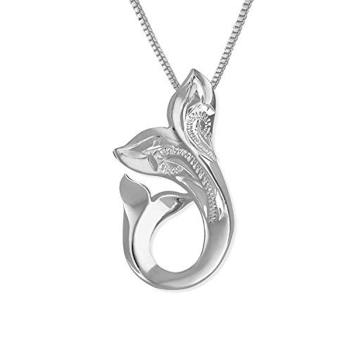 Hawaiian Whale Tail (Sterling Silver Engraved Mother Child Whale Tail Pendant Necklace, 16+2