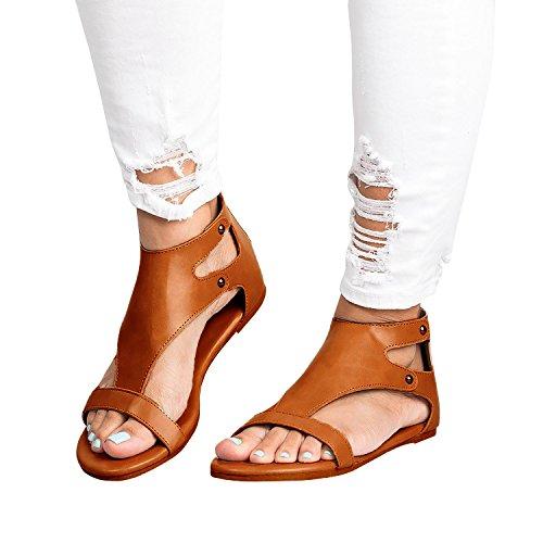 Minetom Damen Sandalen Flache Badesandale Schuhe Flip-Flops Sommer Bequeme Frauen Übergröße Offene Bohemia Retro Mode Casual Shoes Schwarz EU 36 736w3pMl6Y
