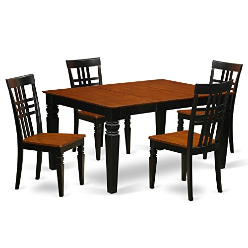 East West Furniture Weston WELG5-BCH-W 5 Pc Set with a Dinning Table and 4 Wood Dining Chairs, Black For Sale