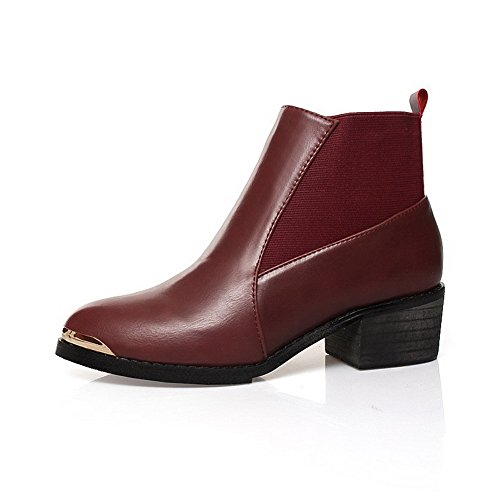 AmoonyFashion Womens Kittten Heels PU Soft Material Heels, Microfibre Solid Boots with Square Heels, Material Claret, 5 B(M) US B00S4OFB12 Shoes 6500a9
