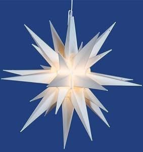 """14"""" Lighted White Moravian Star Hanging Christmas Light"""