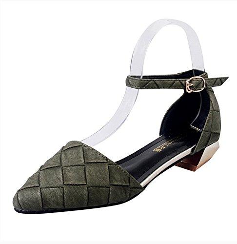 RUGAI-UE Sandalias de verano mujer boca superficial señaló correa gruesa zapatos hueco Green