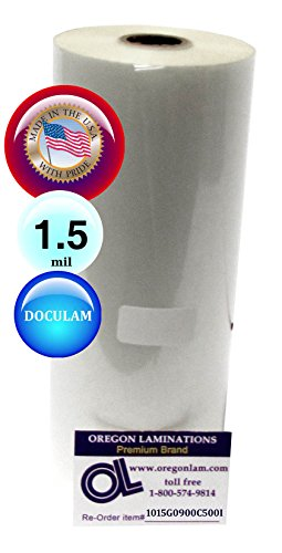 Clear Gloss 1 Inch Core USI WrapSure Standard Thermal Roll Laminating Film 2 Rolls 1.5 Mil 25 Inches x 500 Feet