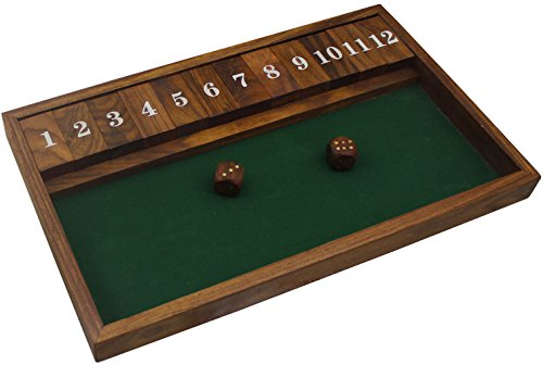 "Handmade Wooden Shut the Box Game 12 Numbers with 2 Dice - Vintage Travel Shut the Box Game -13"" x 8"" x 1"""