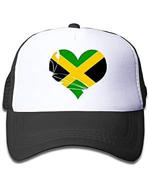 Jamaica Heart On Boys and Girls Trucker Hat, Youth Toddler Mesh Hats Baseball Cap