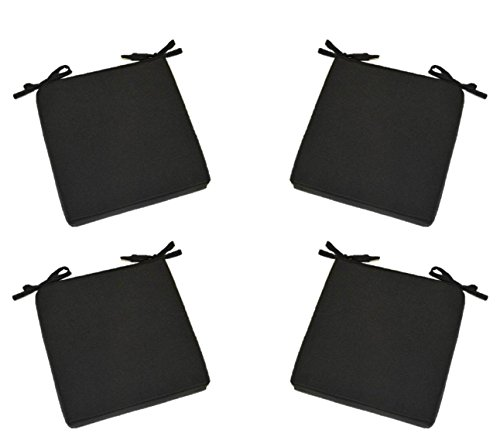 "Set of 4 – Indoor / Outdoor Solid Black Square Universal 3"" Thick Foam Seat Cushions with Ties for Dining Patio Chairs – Choose Size (20″ x 20″) For Sale"