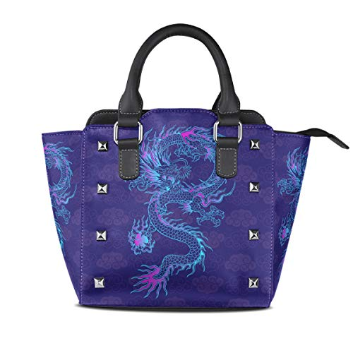 (Ladies Genuine Leather Tote Bags Purple Chinese Dragon Womens Hangbags Shoulder Bags)