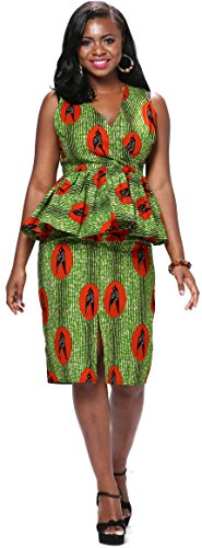 [Shenbolen Women African National Costume Suit Printed Shirt + Skirt (X-Small, Multicolor2)] (Costumes National Womens Clothing)