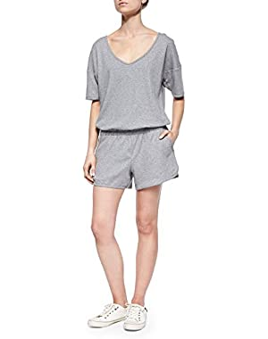 Theory Jiyan Pima Cotton Classic Tee Knit Romper, Heather Grey - Size Medium