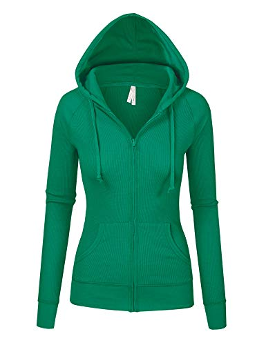 Womens Kelly Green Color Thermal Zip Up Casual Hoodie Jacket (8035_KellyGreen_S) ()