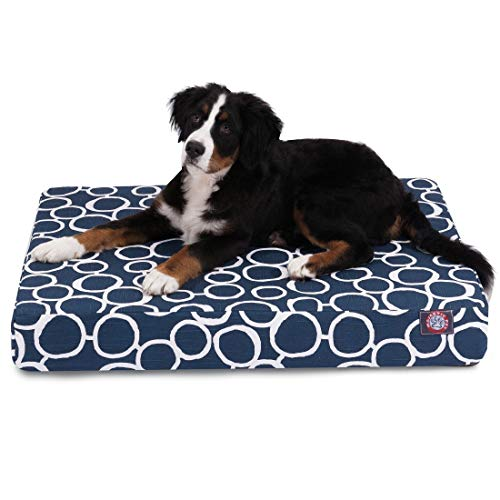 Majestic Pet Products Fusion Orthopedic Memory Foam Rectangle Dog Bed Navy Blue Large ()