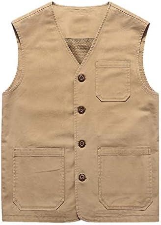 QIQIDEDIAN 釣りベスト 男性の春と秋の薄いセクションの綿のカジュアルな大きいサイズのベスト夏の中年のベストジャケット (Size : 3XL)