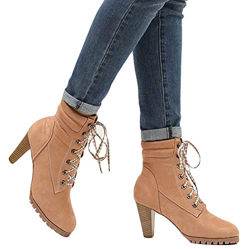 Londony ♪✿ Clearance Sales,Women's Round Toe Chunky Heeled Fashion Slim Fit Ankle Boots Lace Up Booties Martin Shoes ()